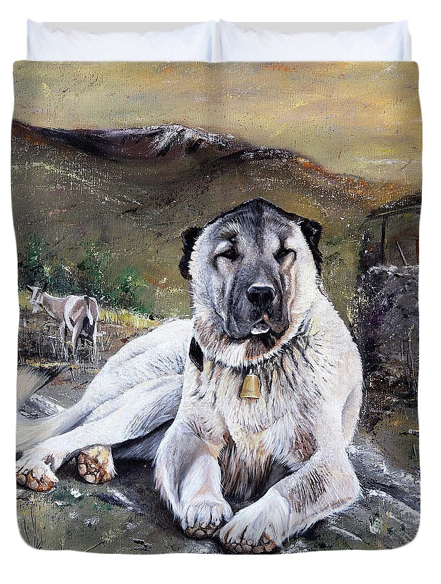 Dog Duvet Cover featuring the painting The Loyal Guardian by Carol Bostan