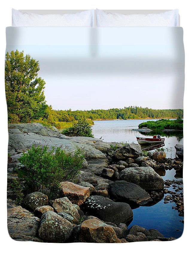 Boat Duvet Cover featuring the photograph The Lund by Debbie Oppermann