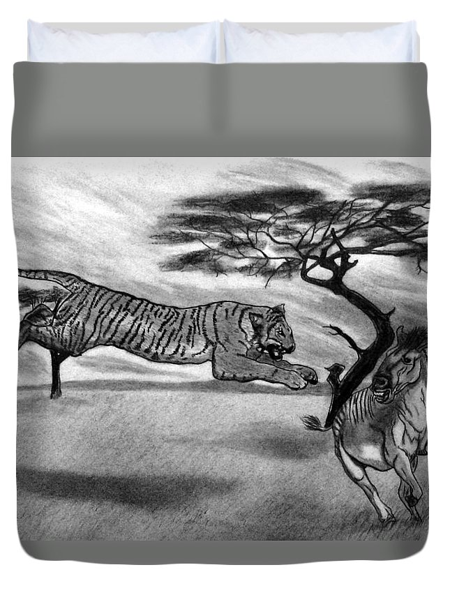 The Lunge Duvet Cover featuring the drawing The Lunge by Peter Piatt