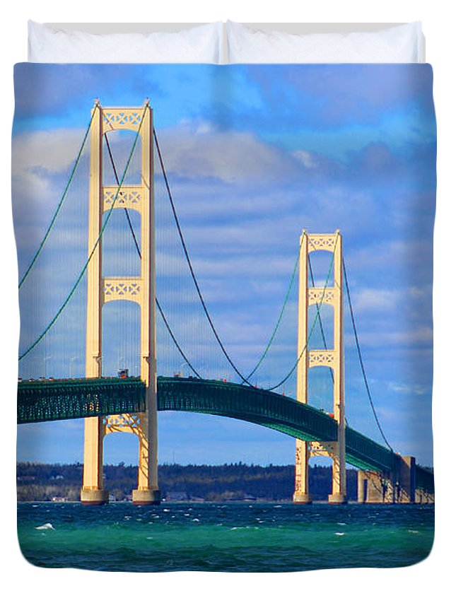 The Mackinac Bridge Duvet Cover featuring the photograph The Mackinac Bridge by Michael Rucker