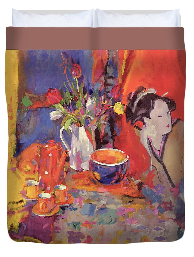 Geisha Duvet Cover featuring the painting The Magical Table by Peter Graham