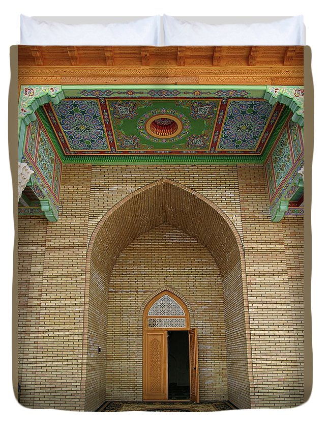 The Main Entrance Duvet Cover featuring the photograph the main entrance, doorway, door, Asia by Wladimir Zarew