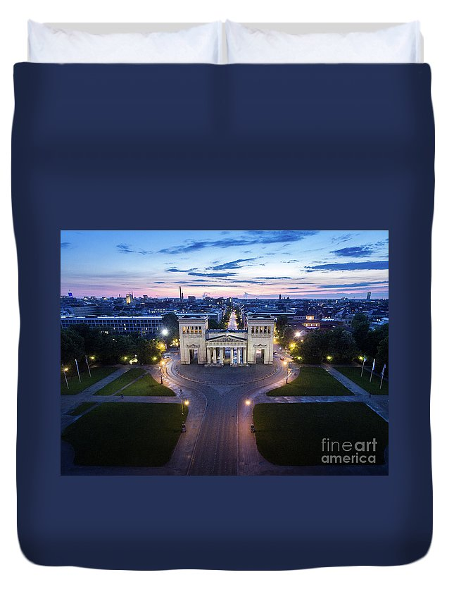 Dji Duvet Cover featuring the photograph The Majestic Koenigplatz by Hannes Cmarits