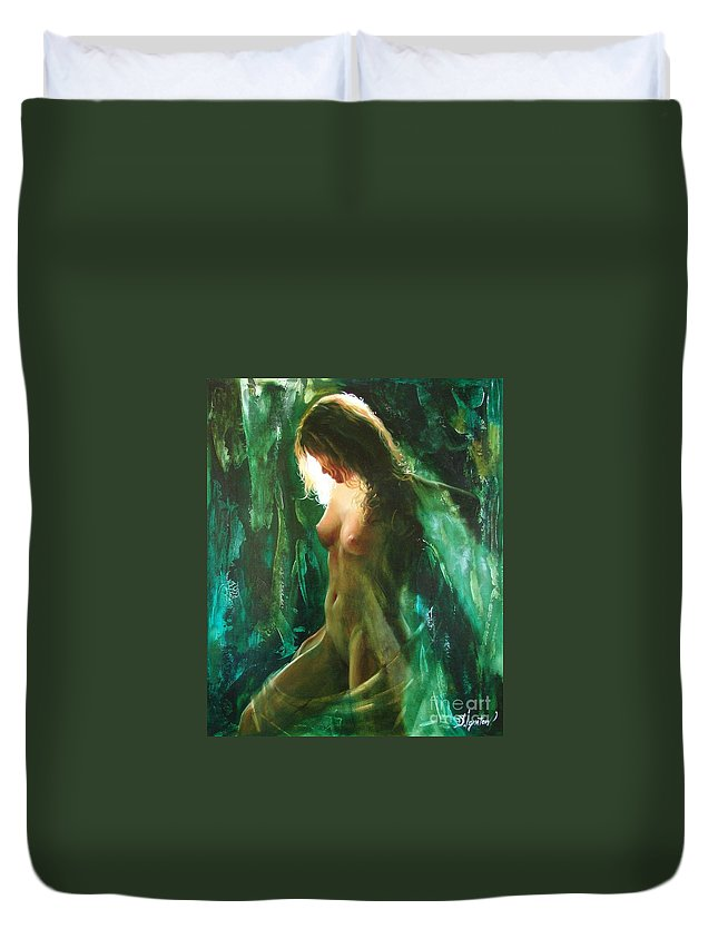 Art Duvet Cover featuring the painting The Malachite Light by Sergey Ignatenko