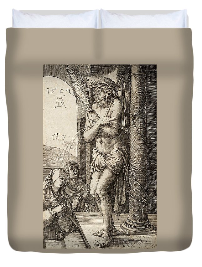 Albrecht Durer Duvet Cover featuring the relief The Man Of Sorrows By The Column With The Virgin And St. John by Albrecht Durer