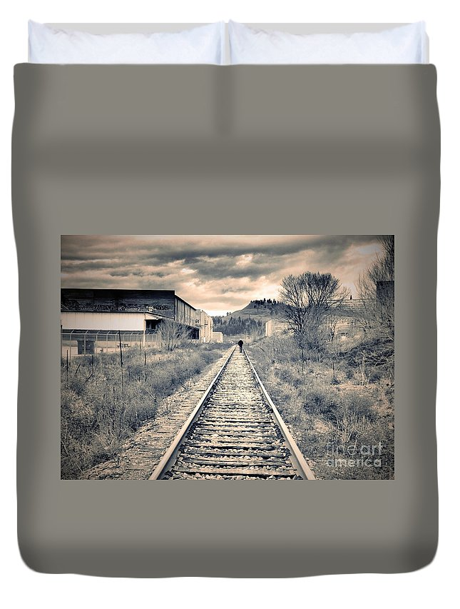 Railway Duvet Cover featuring the photograph The Man On The Tracks by Tara Turner