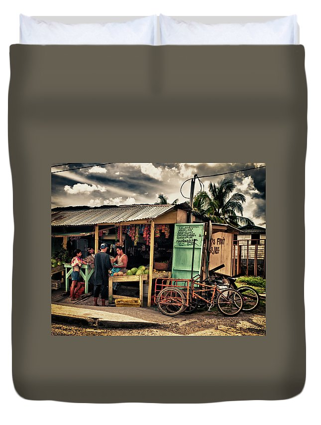 Belize Duvet Cover featuring the photograph The Market by Jessica Levant