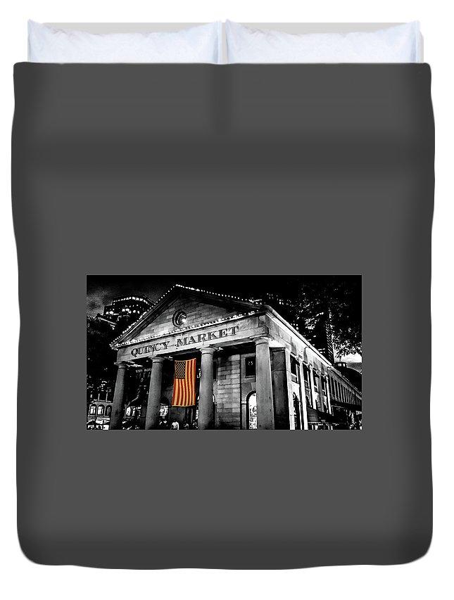 Quincy Market Duvet Cover featuring the digital art The Market by Kenny Kunzman