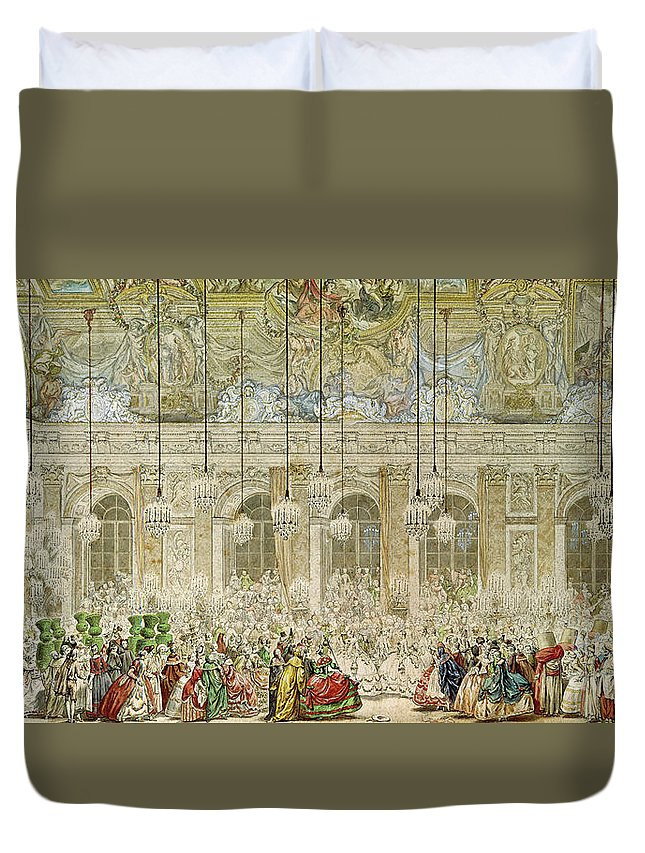 Ball Duvet Cover featuring the painting The Masked Ball At The Galerie Des Glaces by Charles Nicolas Cochin II
