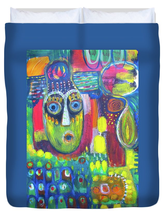 Mask Duvet Cover featuring the painting The Masks We Wear by Anna Maria Stone