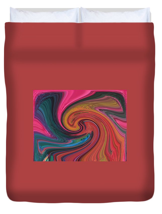 Abstract Duvet Cover featuring the digital art The Mating Dance by Lenore Senior