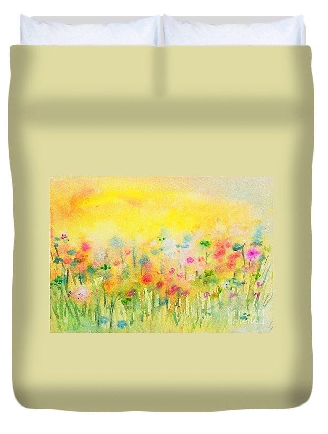 Meadows Duvet Cover featuring the painting The Meadow by Asha Sudhaker Shenoy