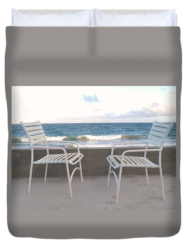 Seascape Duvet Cover featuring the photograph The Meeting by Ian MacDonald