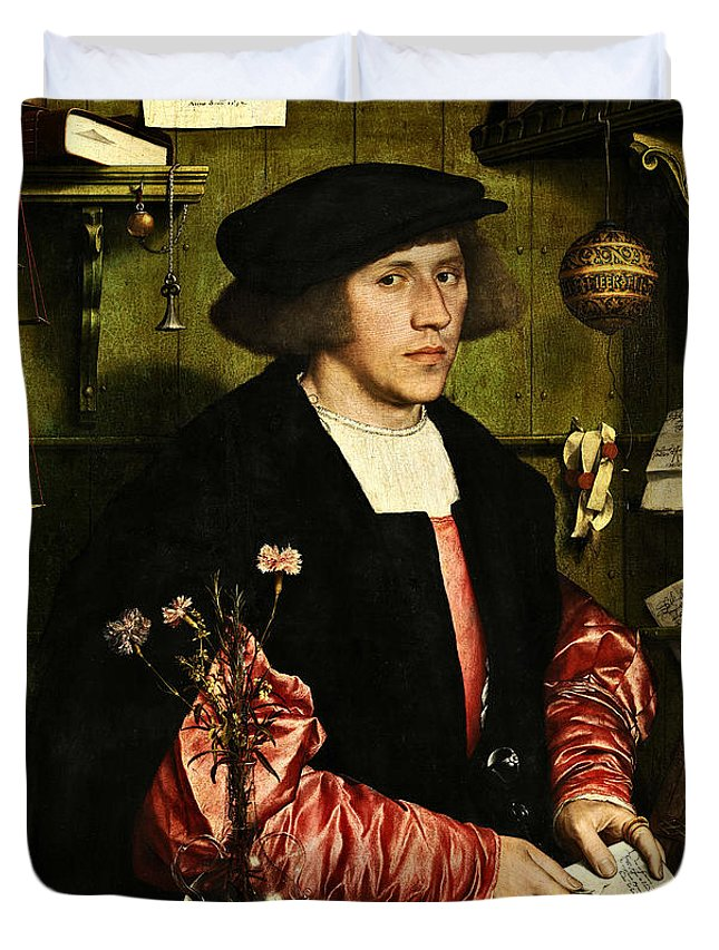 Young Duvet Cover featuring the painting The Merchant Georg Gisze 1532 by Hans Holbein The Younger