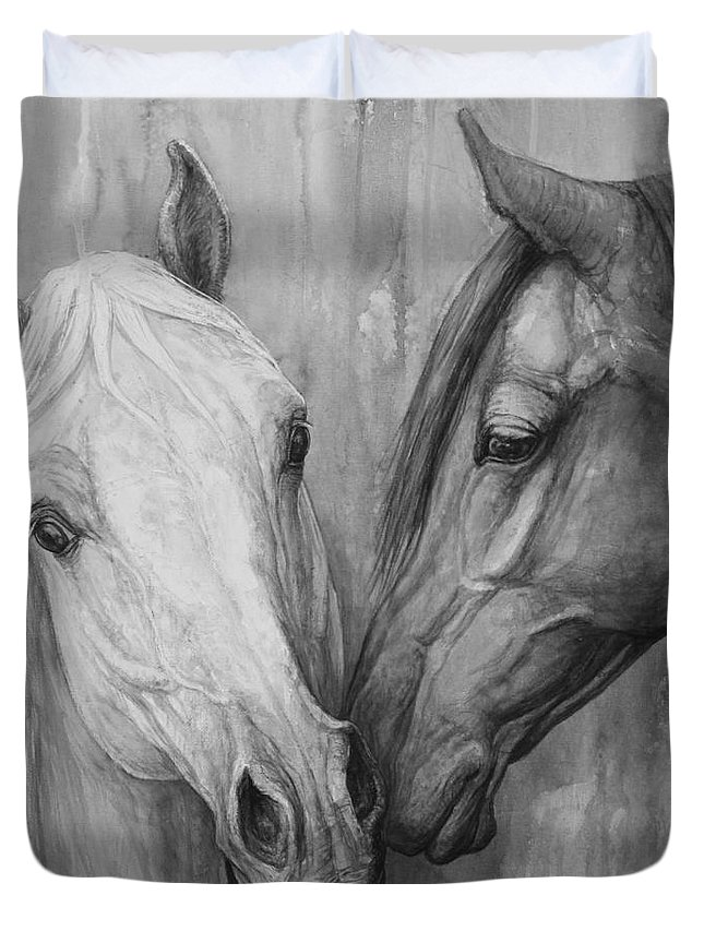 Horse Duvet Cover featuring the painting The Message by Silvana Gabudean Dobre