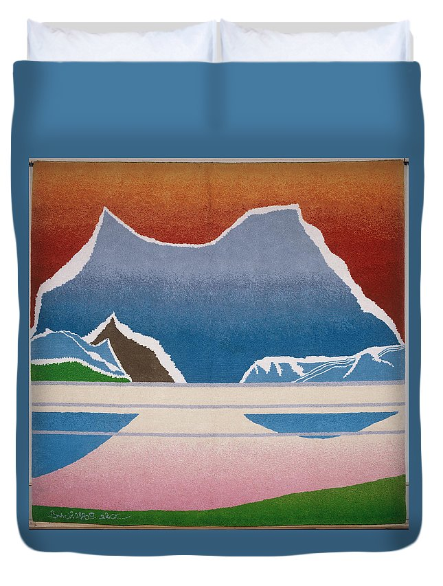 Landscape Duvet Cover featuring the tapestry - textile The Midnight sun by Jarle Rosseland