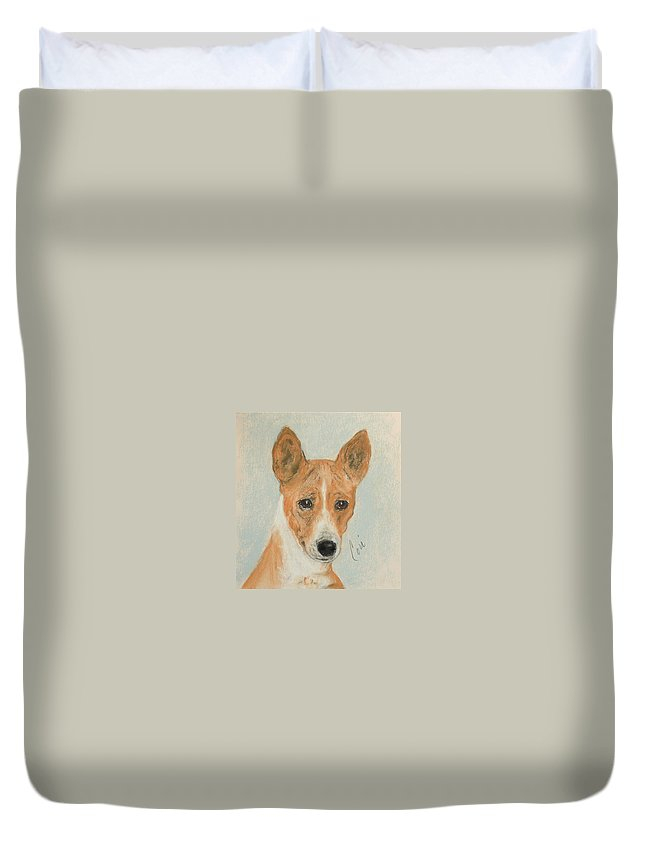 Basenji Duvet Cover featuring the drawing The Mighty Hunter by Cori Solomon