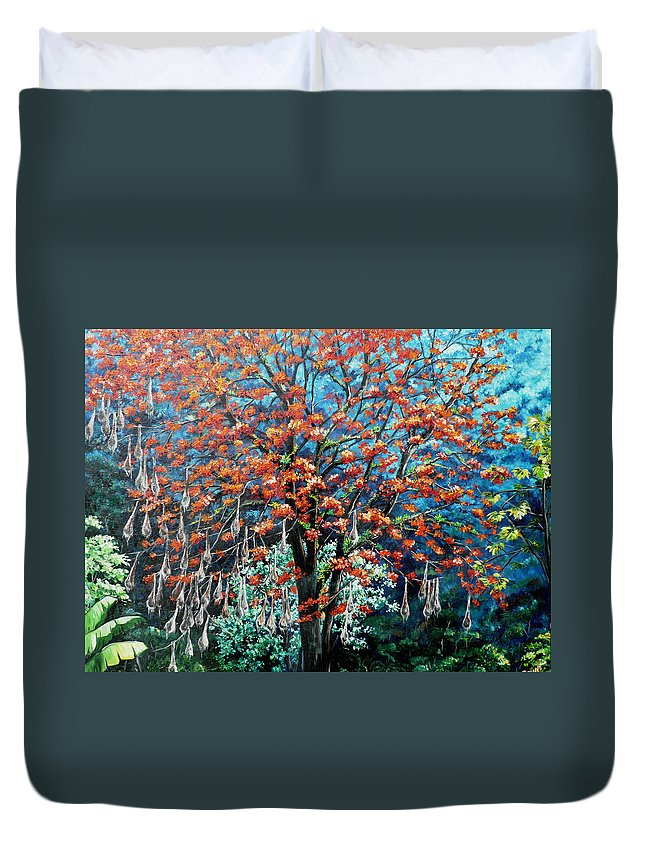 Tree Painting Mountain Painting Floral Painting Caribbean Painting Original Painting Of Immortelle Tree Painting  With Nesting Corn Oropendula Birds Painting In Northern Mountains Of Trinidad And Tobago Painting Duvet Cover featuring the painting The Mighty Immortelle by Karin Dawn Kelshall- Best