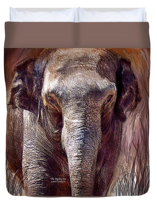 Elephant Duvet Cover featuring the mixed media The Mighty One by Carol Cavalaris