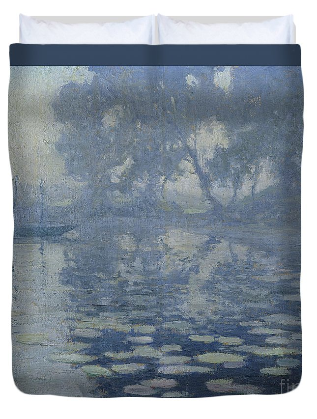 Paul Madeline Duvet Cover featuring the painting The Mill Pond by Paul Madeline