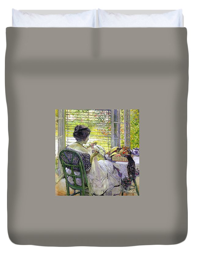 The Milliner Duvet Cover featuring the painting The Milliner by Richard Edward Miller