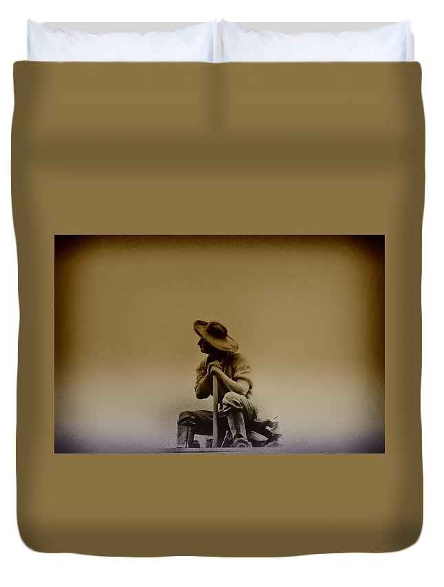 Philadelphia Duvet Cover featuring the photograph The Miner by Bill Cannon