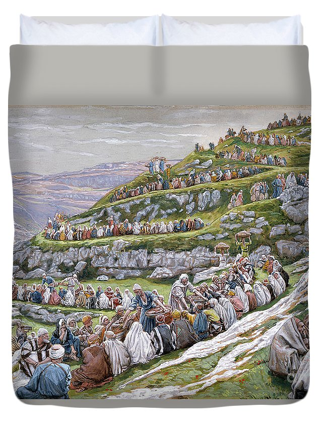 The Duvet Cover featuring the painting The Miracle Of The Loaves And Fishes by Tissot
