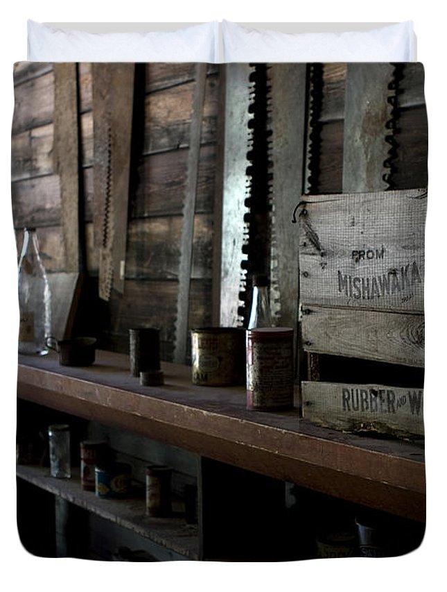 Mishawaka Woolen Duvet Cover featuring the photograph The Mishawaka Woolen Bar by Lorraine Devon Wilke