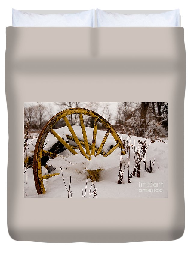 Wheel Duvet Cover featuring the photograph The Missing Wheel by Scott Hafer