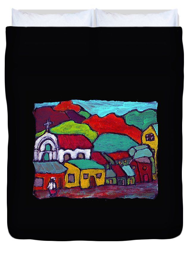 Village Duvet Cover featuring the painting The Mission by Wayne Potrafka