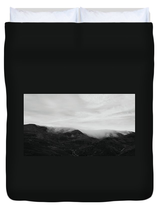Mountains Duvet Cover featuring the photograph The Misty Mountains by Andi Blair