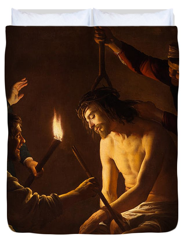 Gerrit Duvet Cover featuring the painting The Mocking Of Christ by Gerrit van Honthorst