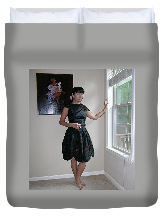 The Model And The Painting Duvet Cover featuring the photograph The Model And The Painting by Thu Nguyen