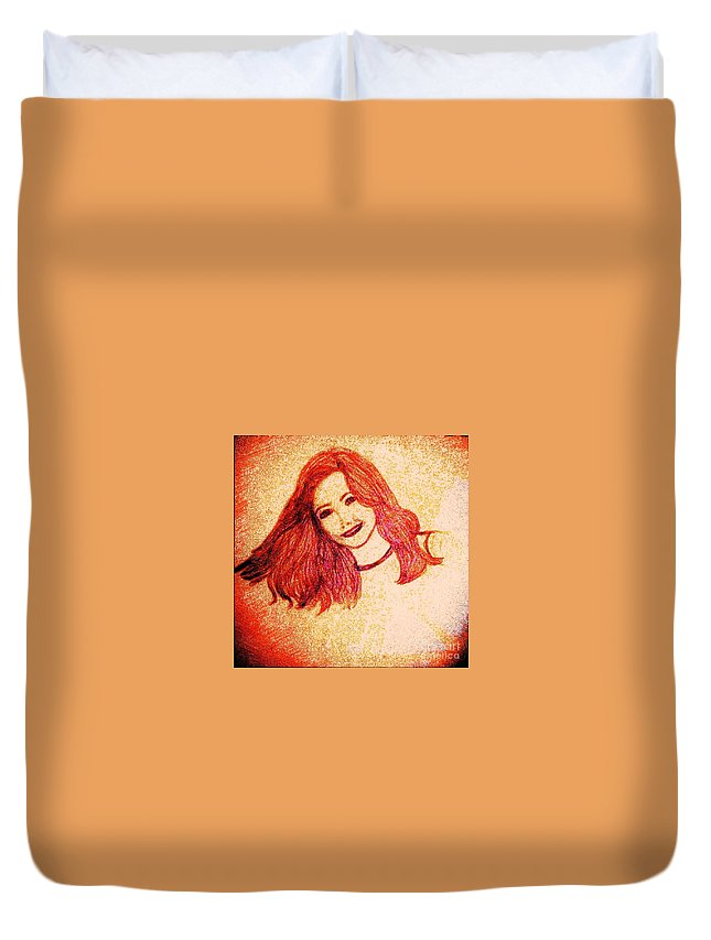 Pencil Duvet Cover featuring the drawing The Model by Debra Lynch