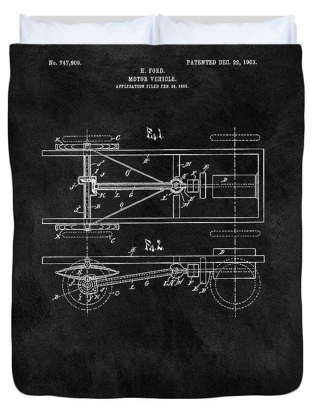 Ford Model T Patent Duvet Cover featuring the drawing The Model T Patent by Dan Sproul