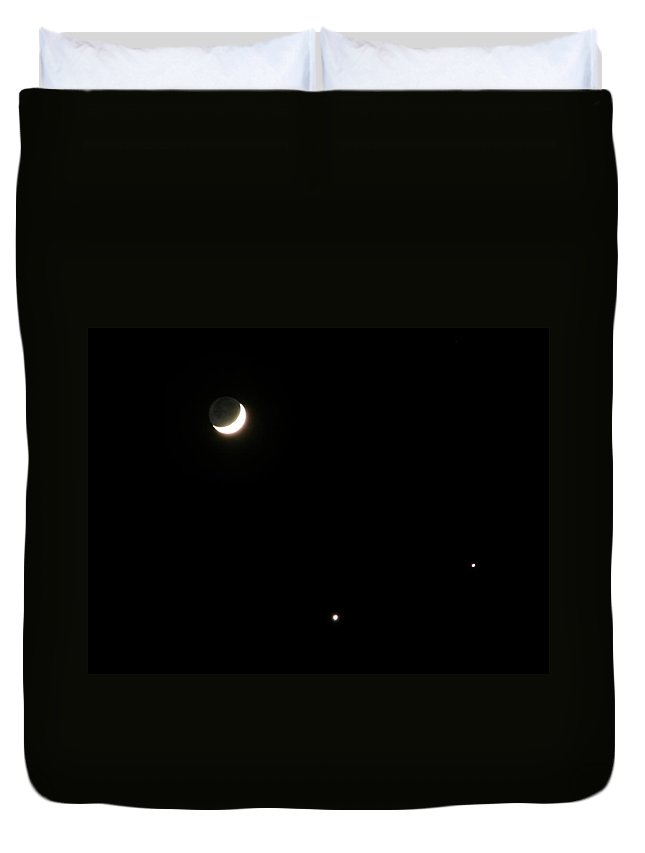 Moon Duvet Cover featuring the photograph The Moon And Stars by Gale Cochran-Smith