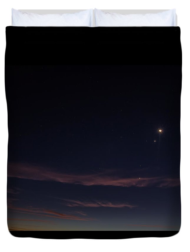 Moon Duvet Cover featuring the digital art The Moon And The Planets At Sunrise by John Haldane
