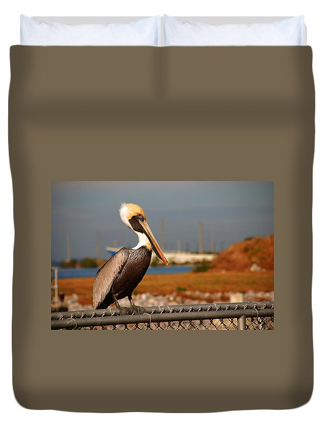 Pelican Duvet Cover featuring the photograph The Most Beautiful Pelican by Susanne Van Hulst