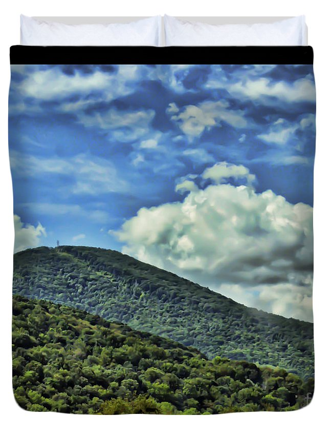 Mountain Duvet Cover featuring the photograph The Mountain Meets The Sky by Kerri Farley