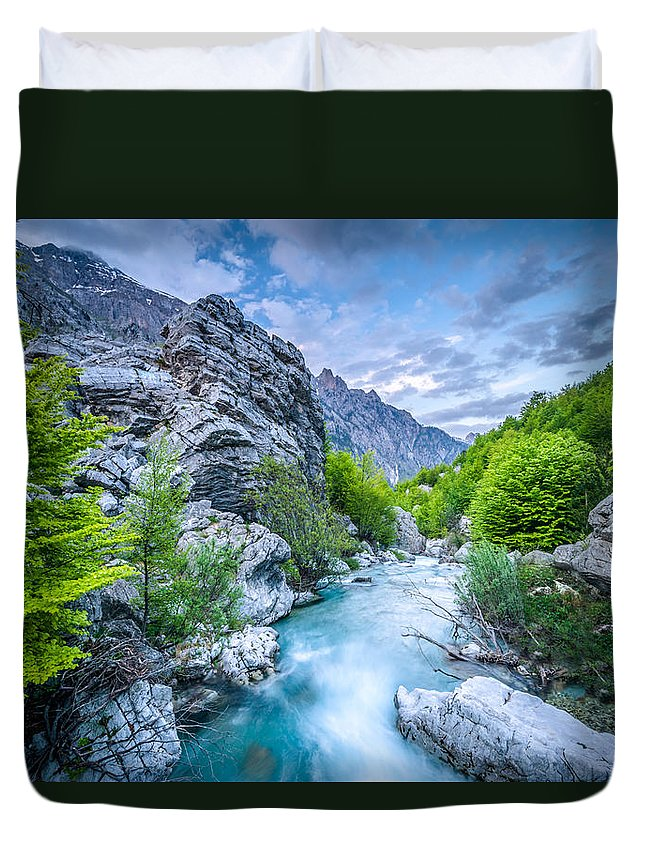 Landscape Format Duvet Cover featuring the photograph The Mountain Spring by Radek Spanninger