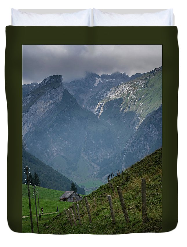 Switzerland Duvet Cover featuring the photograph The Mountains Of Switzerland by Deborah Hughes