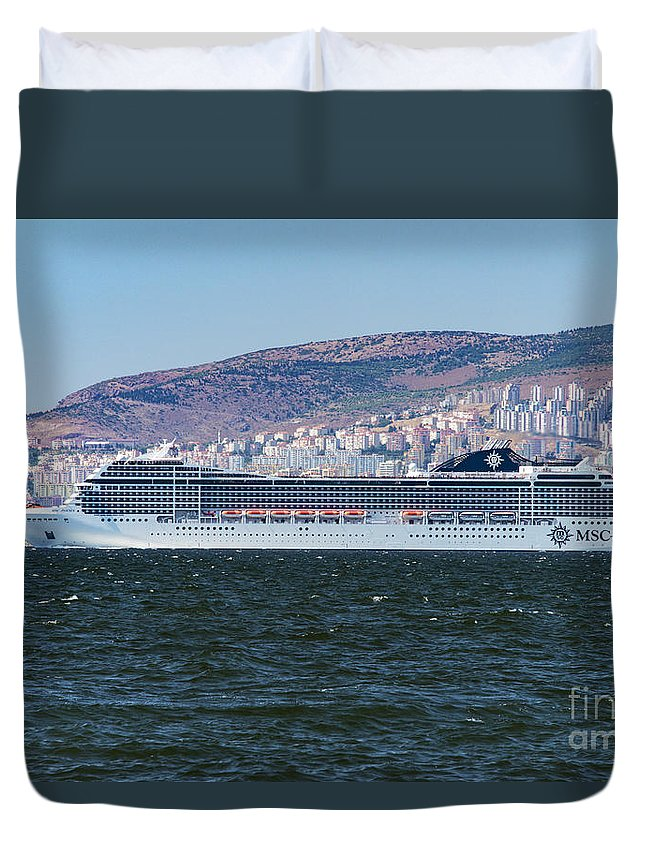 Izmir Turkey Msc Poesia Cruise Ship Ships Boat Boats Ocean Liner Ocean Liners Aegean Sea Seas Water Bay Bays City Cities Cityscape Cityscapes Landscape Landscape Waterscape Waterscapes Duvet Cover featuring the photograph The Msc Poesia by Bob Phillips