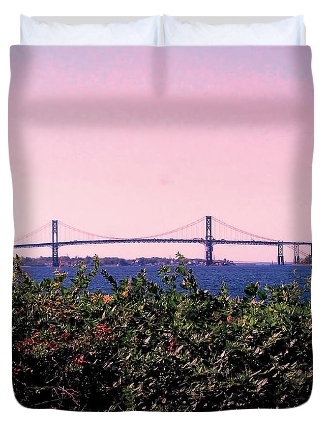 Landscape Photograph Duvet Cover featuring the photograph The Mt Hope Bridge Bristol Rhode Island by Tom Prendergast