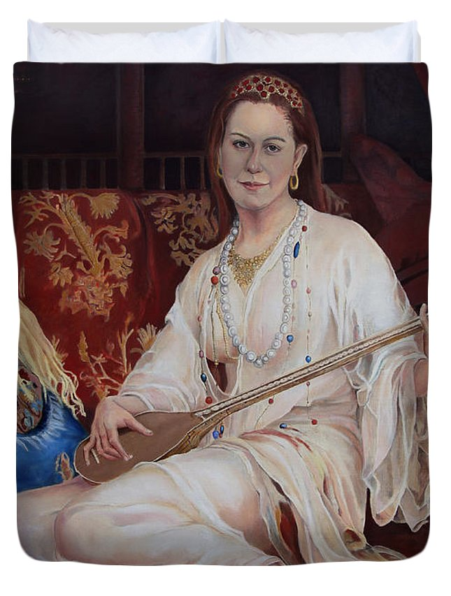 Portrait Duvet Cover featuring the painting The Musician by Portraits By NC