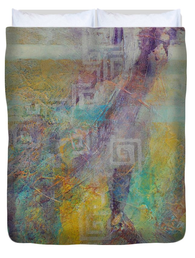 Kate Word Abstract Duvet Cover featuring the painting The Narrow Gate by Kate Word