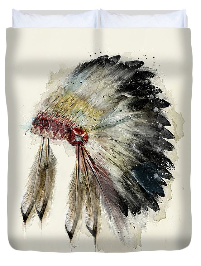 Native Headdress Duvet Cover featuring the painting The Native Headdress by Bri Buckley
