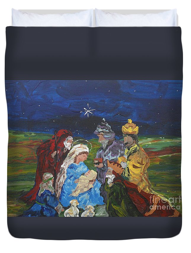 Nativity Duvet Cover featuring the painting The Nativity by Reina Resto