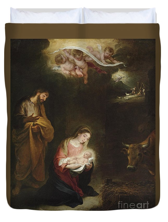 Murillo Duvet Cover featuring the painting The Nativity With The Annunciation To The Shepherds Beyond by Bartolome Esteban Murillo