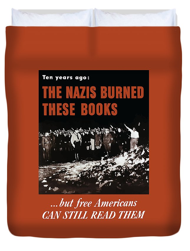 Free Speech Duvet Cover featuring the painting The Nazis Burned These Books by War Is Hell Store