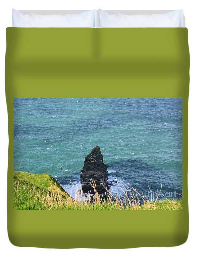 Needle Duvet Cover featuring the photograph The Needle Off The Cliff's Of Moher In Ireland by DejaVu Designs